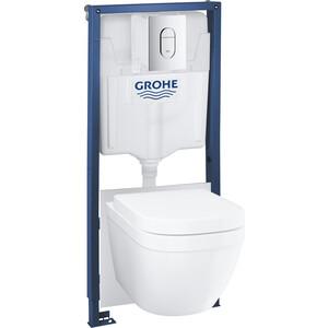 Комплект Grohe Euro Ceramic унитаз подвесной, с сиденьем микролифт, инсталляция, клавиша смыва (39536000)