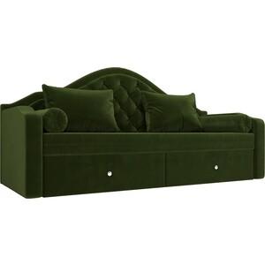 Прямой детский диван АртМебель Сойер вельвет зеленый прямой детский диван артмебель сойер вельвет коричневый