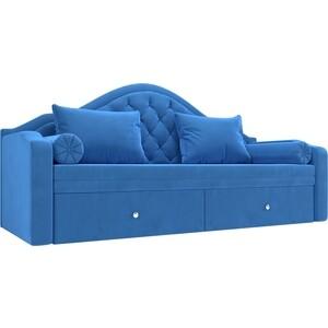 Прямой детский диван АртМебель Сойер велюр MR синий прямой детский диван артмебель сойер экокожа бежевый