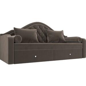 Прямой детский диван АртМебель Сойер флок коричневый