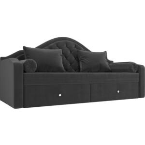 Прямой детский диван АртМебель Сойер флок серый прямой детский диван артмебель сойер экокожа бежевый
