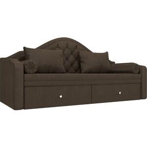 Прямой детский диван АртМебель Сойер рогожка коричневый прямой детский диван артмебель сойер экокожа бежевый