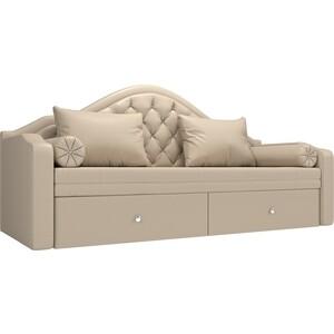 Прямой детский диван АртМебель Сойер экокожа бежевый прямой детский диван артмебель сойер вельвет коричневый