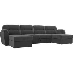 Диван П-образный Лига Диванов Бостон велюр MR серый диван п образный лига диванов бостон велюр mr коричневый