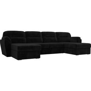 Диван П-образный Лига Диванов Бостон велюр MR черный диван п образный лига диванов бостон велюр mr коричневый