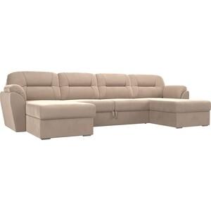 Диван Лига Диванов Бостон велюр бежевый П-образный диван лига диванов элис велюр бежевый с коричневыми подушками п образный