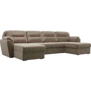 Диван Лига Диванов Бостон флок коричневый П-образный диван п образный лига диванов бостон велюр mr коричневый