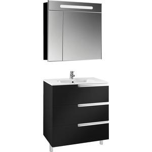 Мебель для ванной Roca Victoria Nord Black Edition 80 напольный, черный глянец шкаф колонна подвесная черный глянец roca victoria nord black edition zru9000095
