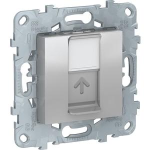 цена на Розетка компьютерная Schneider Electric UNICA NEW RJ45 категории 5е UTP алюминий (NU541130)