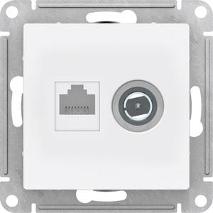 Механизм розетки комбинированный Schneider Electric ATLAS DESIGN компьютерная RJ45 категории 5E и TV белый (ATN000189)