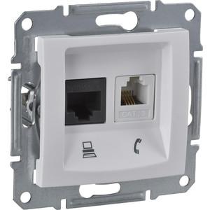Механизм розетки комбинированный Schneider Electric СП Sedna телефонная RJ11 и компьютерная RJ45 белый (SDN5100121) розетка 1 пост телефонная rj11 elbi tuna белый