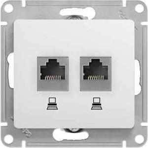 Механизм компьютерной розетки двойной Schneider Electric Glossa RJ45+RJ45 категории 5е белый (GSL000185KK) удлинитель rj45
