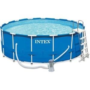 Каркасный бассейн Intex 28242 Metal Frame 457х122см (фильтр-насос 3785л/ч лестница, тент, подстилка)