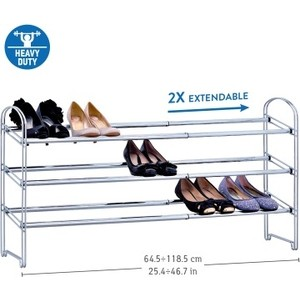 Этажерка для обуви Tatkraft Maestro Сверхпрочная трехъярусная, раздвижная , 64,5-118,5(Д) х22,5 (Г) х53,5 (В) см