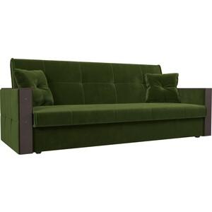 Прямой диван АртМебель Валенсия микровельвет зеленый книжка