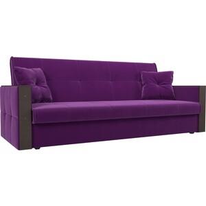 Прямой диван АртМебель Валенсия микровельвет фиолетовый книжка