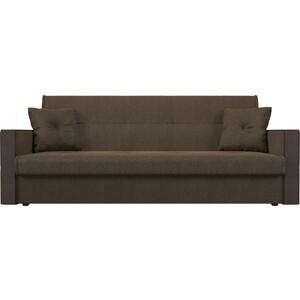 Прямой диван АртМебель Валенсия рогожка коричневый книжка