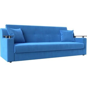 Прямой диван АртМебель Сенатор велюр MR синий книжка фото