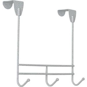 Вешалка надверная ЗМИ Нота 3, 0,226х0,08х0,205, три крючка, устанавливается на дверь, перегородку до 40 мм, белое серебро