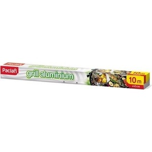 Фольга пищевая Paclan алюминиевая для гриля 100х45 см в коробке paclan фольга алюминиевая paclan extra strong в рулоне