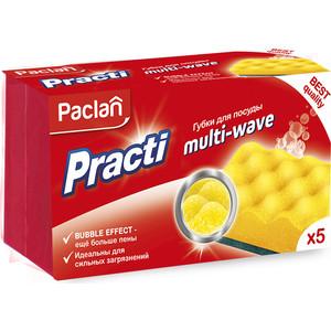 Губка Paclan PractI Multi-Wave для посуды , 5 шт