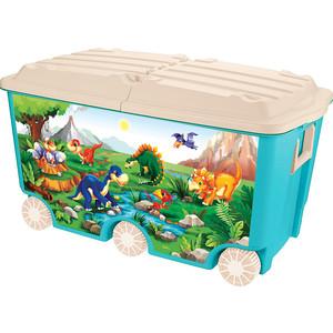 Ящик для игрушек Бытпласт на колесах, с декором, 66,5 л 685х395х385 мм, голубой цена