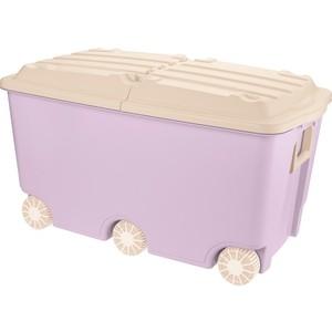 Ящик для игрушек Бытпласт на колесах, 66,5 л, размер 685х395х385 мм розовый