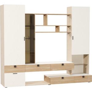 Шкаф комбинированный Моби Франко дуб паллада/белый/дуб сонома