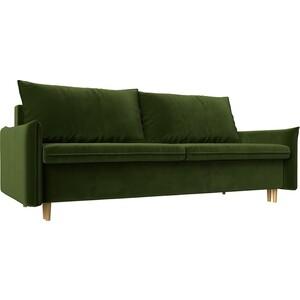 Прямой диван Лига Диванов Хьюстон микровельвет зеленый