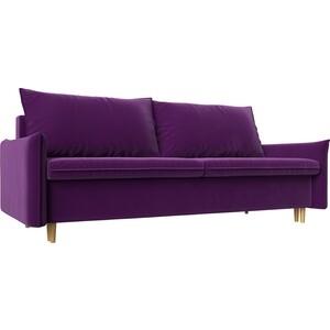 Прямой диван Лига Диванов Хьюстон микровельвет фиолетовый