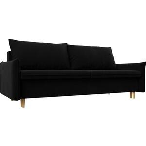 Прямой диван Лига Диванов Хьюстон микровельвет черный фото