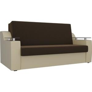 Прямой диван АртМебель Сенатор микровельвет коричневый экокожа бежевый (140) аккордеон фото