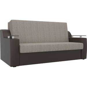 Прямой диван АртМебель Сенатор корфу 02 экокожа коричневый (140) аккордеон фото