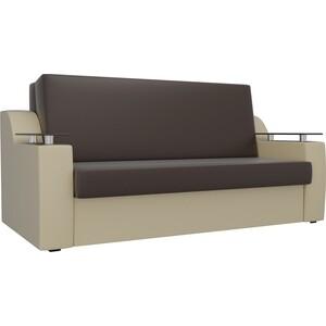 Прямой диван АртМебель Сенатор экокожа коричневый/бежевый (140) аккордеон