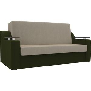 Прямой диван АртМебель Сенатор микровельвет бежевый/зеленый (100) аккордеон