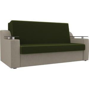 Прямой диван АртМебель Сенатор микровельвет зеленый/бежевый (100) аккордеон