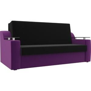 Прямой диван АртМебель Сенатор микровельвет черный/фиолетовый (100) аккордеон фото