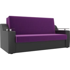 Прямой диван АртМебель Сенатор микровельвет фиолетовый экокожа черный (100) аккордеон фото