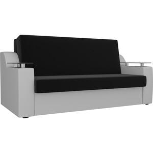 Прямой диван АртМебель Сенатор микровельвет черный экокожа белый (100) аккордеон фото