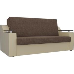 Прямой диван АртМебель Сенатор рогожка коричневый/бежевый (100) аккордеон фото