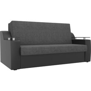 Прямой диван АртМебель Сенатор рогожка серый экокожа черный (100) аккордеон фото
