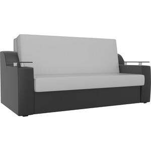 Прямой диван АртМебель Сенатор экокожа белый/черный (100) аккордеон