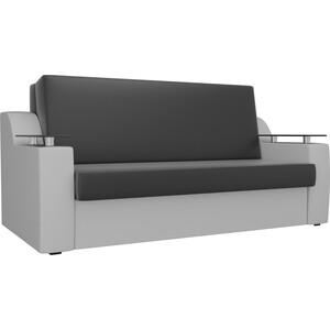 Прямой диван АртМебель Сенатор экокожа черный/белый (100) аккордеон
