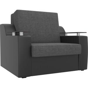 Кресло-кровать АртМебель Сенатор рогожка серый экокожа черный (80)
