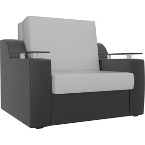 Кресло-кровать АртМебель Сенатор экокожа белый/черный (80)