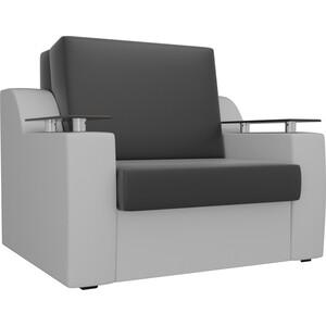 Кресло-кровать АртМебель Сенатор экокожа черный/белый (80)