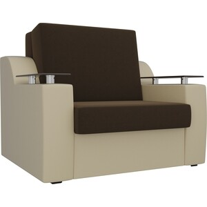 Кресло-кровать АртМебель Сенатор микровельвет коричневый экокожа бежевый (60) фото