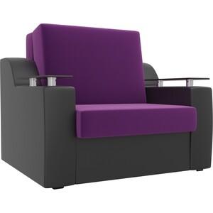 Кресло-кровать АртМебель Сенатор микровельвет фиолетовый экокожа черный (60)