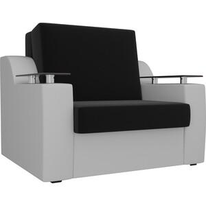 Кресло-кровать АртМебель Сенатор микровельвет черный экокожа белый (60)