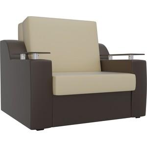 Кресло-кровать АртМебель Сенатор экокожа бежевый/коричневый (60)